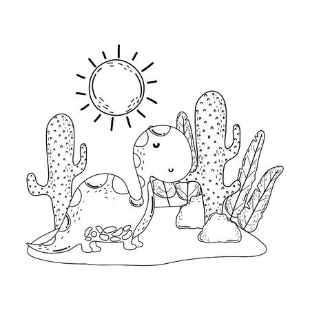 cute apatosaurus with cactus in the landscape vector illustration design