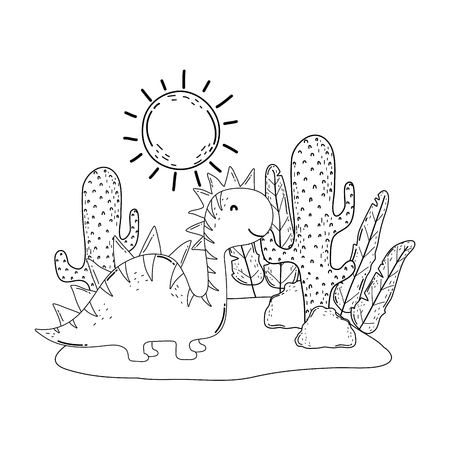 cute apatosaurus with cactus in the landscape vector illustration design