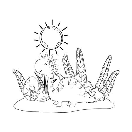 cute apatosaurus with eggs vector illustration design Stock Illustratie
