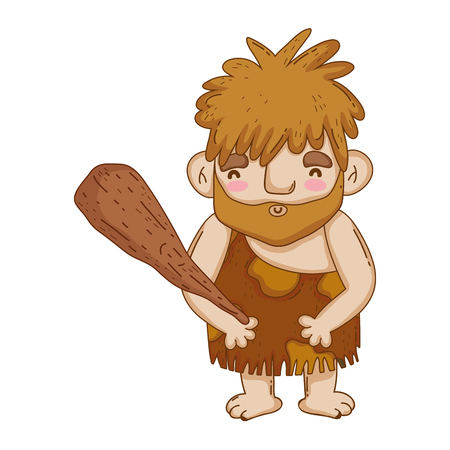 caveman with bludgeon character vector illustration design