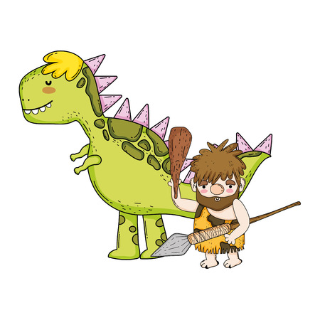 caveman with dinosaur characters vector illustration design