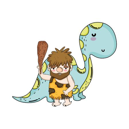 cute apatosaurus with caveman vector illustration design 向量圖像