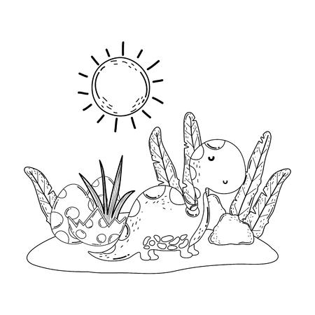 cute apatosaurus with eggs vector illustration design Illustration