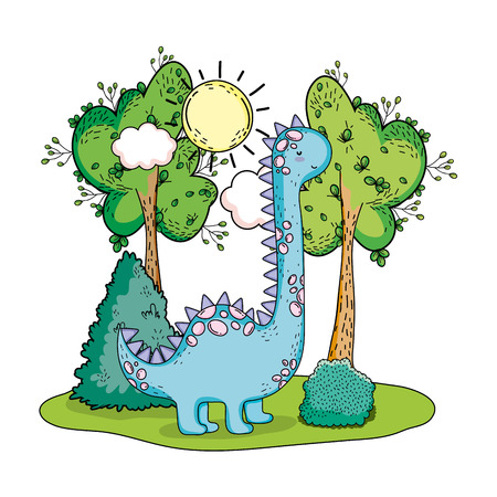 cute apatosaurus with tree in the landscape vector illustration design