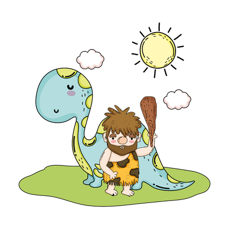 caveman with dinosaur in the landscape vector illustration design