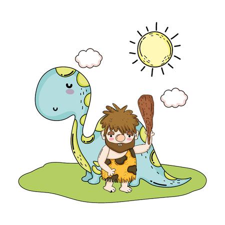 homme des cavernes avec dinosaure dans le paysage vector illustration design Vecteurs