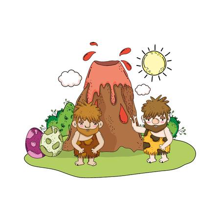 cavemen comic in the landscape with volcano vector illustration design  イラスト・ベクター素材