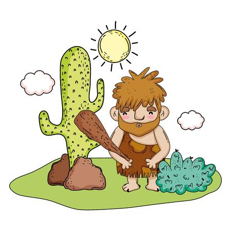 caveman comic character iccon vector illustration design