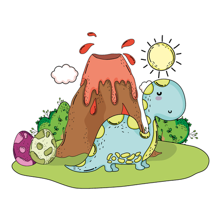 cute apatosaurus with volcano scene vector illustration design