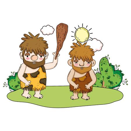 cavemen comic in the landscape vector illustration design Illustration