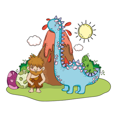 caveman with dinosaur in the landscape and volcano vector illustration Vettoriali