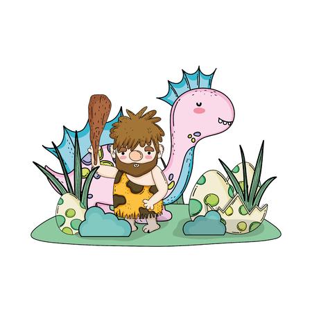 caveman with dinosaur in the landscape vector illustration design  イラスト・ベクター素材