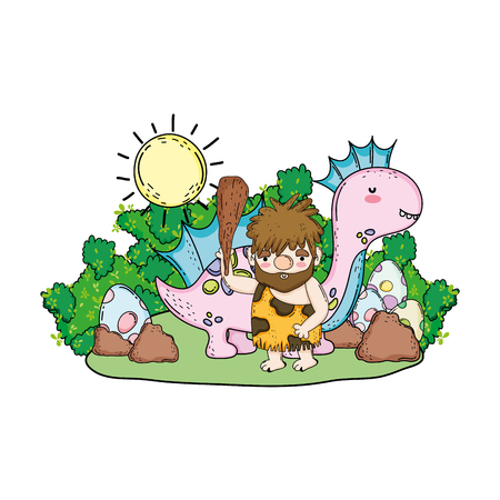 caveman with dinosaur in the landscape vector illustration design  イラスト・ベクター素材