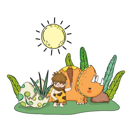 caveman with dinosaur in the landscape vector illustration design Illustration