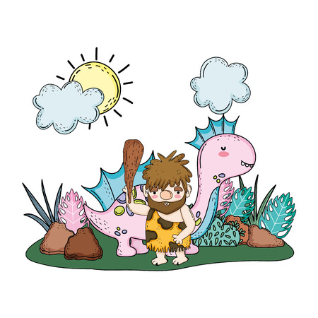 caveman with dinosaur in the landscape vector illustration design Vettoriali