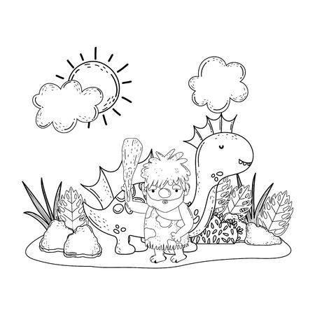 caveman with dinosaur in the landscape vector illustration design Çizim