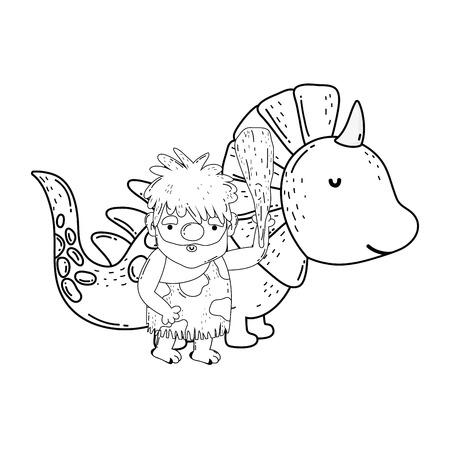 caveman with dinosaur characters vector illustration design