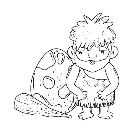 caveman with bludgeon and dinosaur egg vector illustration design