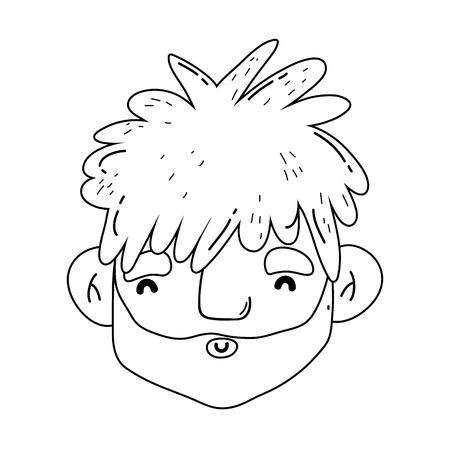 caveman comic head character vector illustration design