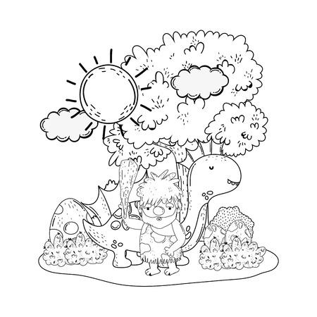 Hombre de las cavernas con dinosaurios en el paisaje, diseño de ilustraciones vectoriales