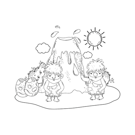 cavemen comic in the landscape with volcano vector illustration design Illustration
