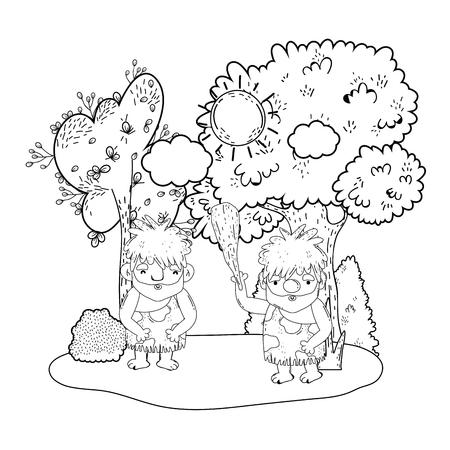 cavemen comic in the landscape vector illustration design Çizim