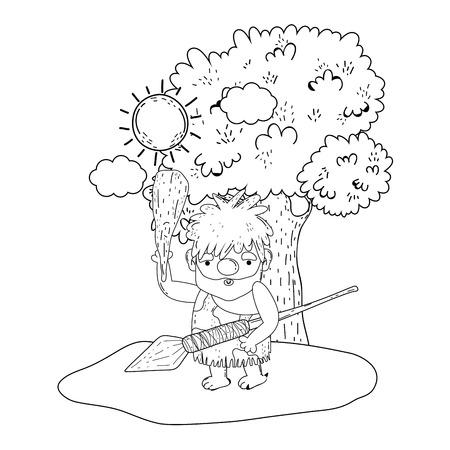 caveman comic in the landscape vector illustration design