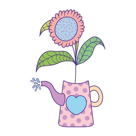 cute gardening sprinkler with flower vector illustration design