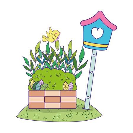 mignon et petit oiseau volant avec la conception d'illustration vectorielle nichoir