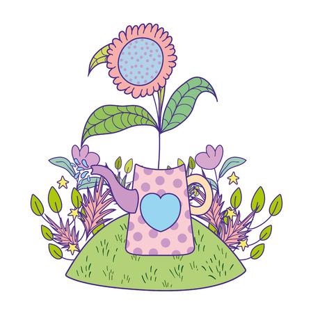 beautiful cute garden with sprinkler scene vector illustration design