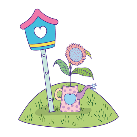 cute birdhouse wooden with garden scene vector illustration design