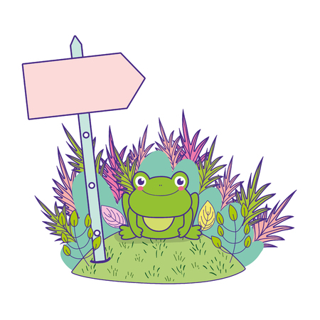 cute toad in the landscape character vector illustration design