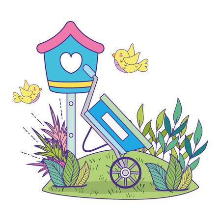 Lindos y pajaritos volando alrededor de la casa para pájaros, diseño de ilustraciones vectoriales