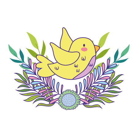 cute and little bird flying with flowers garden vector illustration design