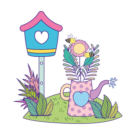 cute birdhouse with garden and sprinkler vector illustration design