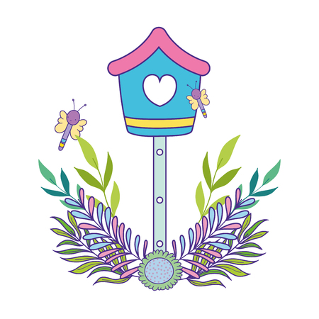 cute birdhouse wooden with leafs vector illustration design