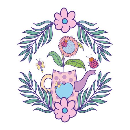 cute gardening sprinkler with flowers garden vector illustration design