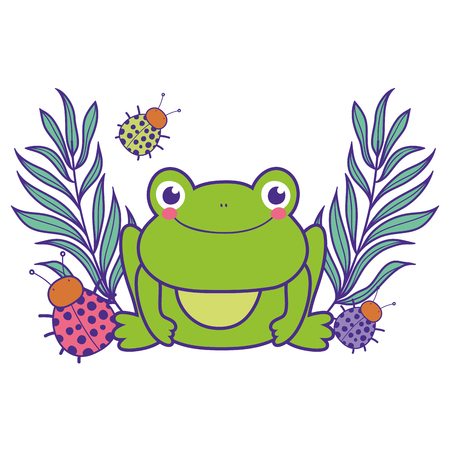 cute toad with flowers garden character vector illustration design