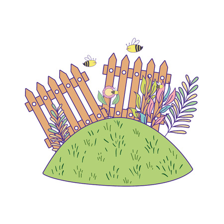 cute wooden fence in the garden vector illustration design Illustration