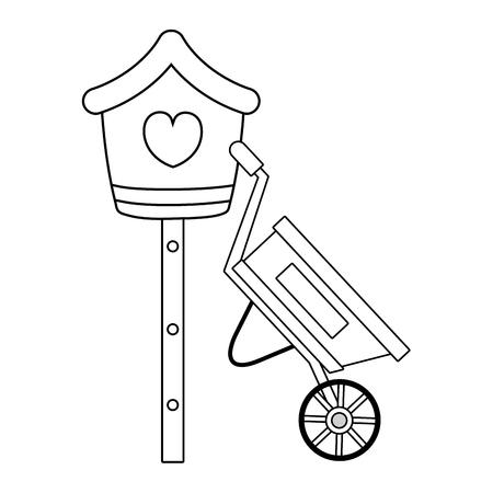 cute birdhouse with wheelbarrow vector illustration design