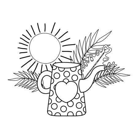 cute gardening sprinkler with flowers and sun vector illustration design