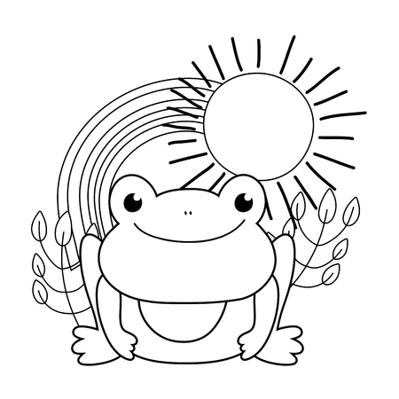 cute toad with rainbow character vector illustration design