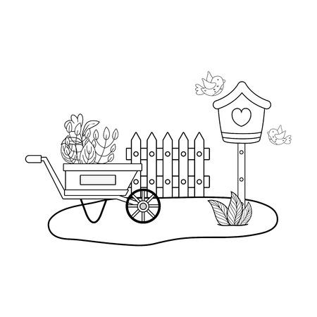 cute and little birds flying around birdhouse vector illustration design