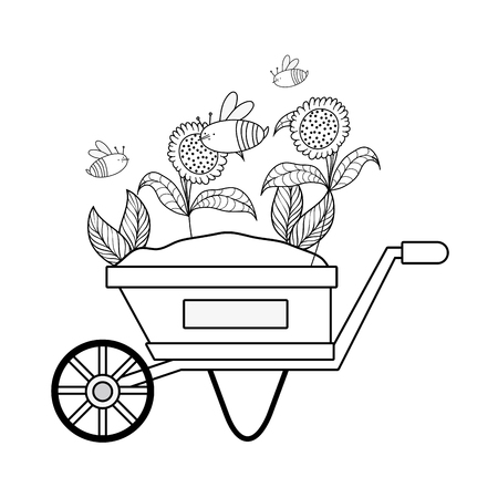 cute wheelbarrow gardening with flowers garden vector illustration design