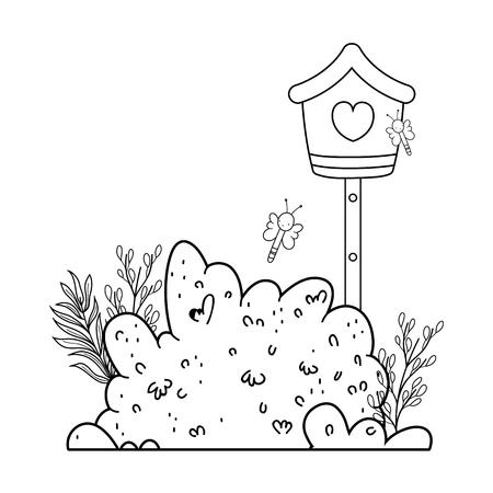 cute birdhouse wooden with garden scene vector illustration design