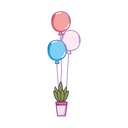 party balloons helium with houseplant vector illustration design 일러스트