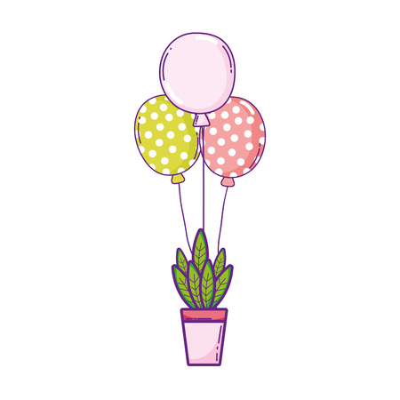 party balloons helium with houseplant vector illustration design Banque d'images - 125816713