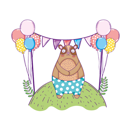 cute bear with balloons helium in the landscape vector illustration design