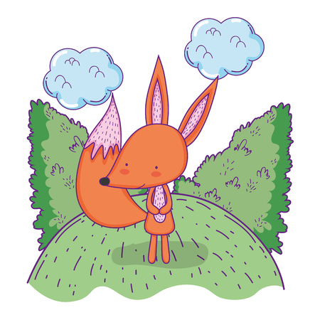 cute and little fox in the landscape vector illustration design