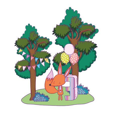 cute and little fox with balloons helium in the landscape vector illustration